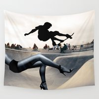 skate Wall Tapestries featuring Skate Boarding by Cs025