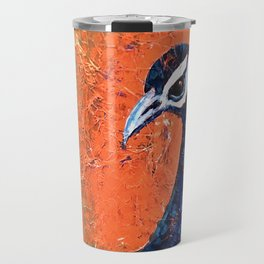 Pop Art Peacock blue-on-orange Travel Mug