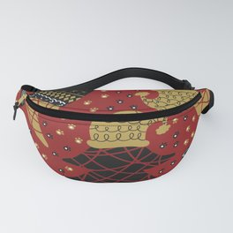 Funky Winter Pine Trees Hats Gold Black Red Background Pattern Fanny Pack