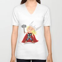 thor V-neck T-shirts featuring Thor by Rod Perich