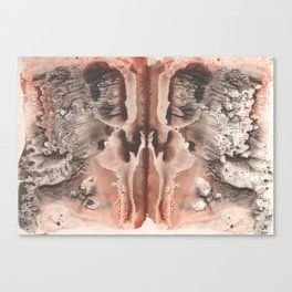 brown Rorschach test, watercolor, monotype, abstract symmetric painting Canvas Print