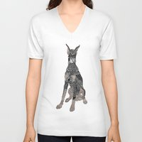 doberman V-neck T-shirts featuring Sitting Doberman by K J Guindon