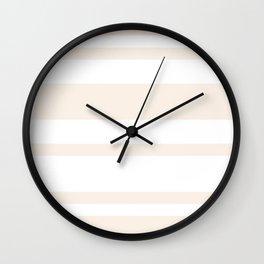 Mixed Horizontal Stripes - White and Linen Wall Clock