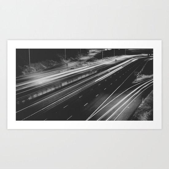 Seattle at Night - Black and White Art Print
