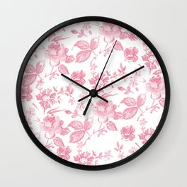 Emma Floral in Red Wall Clock