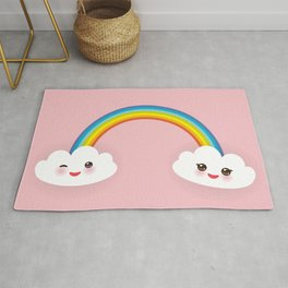 Kawaii funny white clouds, muzzle with pink cheeks and winking eyes, rainbow on light pink Rug