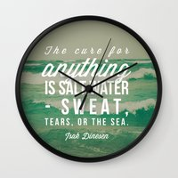salt water Wall Clocks featuring Salt Water Cure by Olivia Joy StClaire
