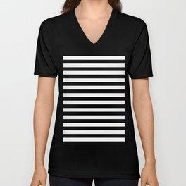 Horizontal Stripes (Black/White) Unisex V-Neck