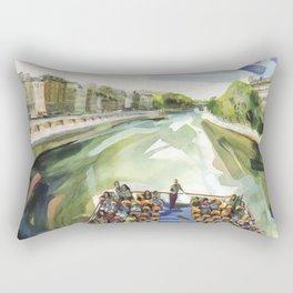 A choppy Seine makes for a fun ride on the Bateau Mouche - Paris Rectangular Pillow