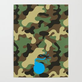 CAMO & LIGHT BLUE BOMB DIGGITY Poster