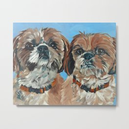 Shih Tzu Buddies Dog Portrait Metal Print