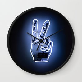 Peace Sign Hand Neon Sign Wall Clock