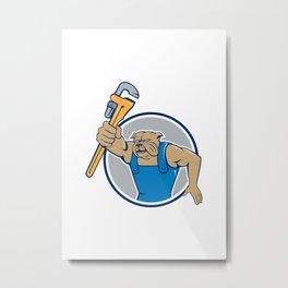 Bulldog Plumber Monkey Wrench Circle Cartoon Metal Print