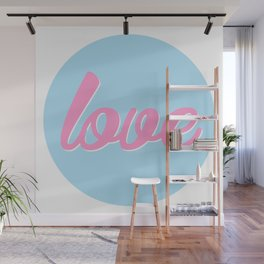 Love, Cute Sticker, blue, pink, blue circle Wall Mural