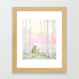 Unlikely Friendship Large Print (Bunny and Bear in the Woods) Framed Art Print