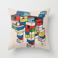 the hound Throw Pillows featuring Block Hound by My Metal Hand by JTO