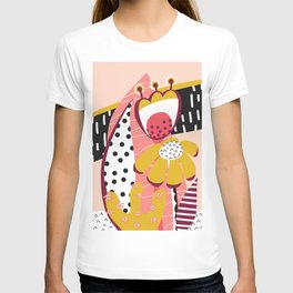 Collage Flowers pink, gold, white, black T-shirt