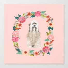 Tibetan Terrier floral wreath dog breed pure breed pet portrait Canvas Print
