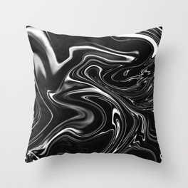 Black Gesso Paint Abstract Throw Pillow