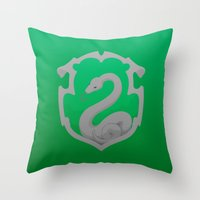 slytherin Throw Pillows featuring Or perhaps in Slytherin by Tom Oxnam