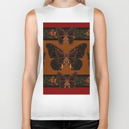 BLACK  MONARCH BUTTERFLIES,COFFEE BROWN-BURGUNDY ART Biker Tank