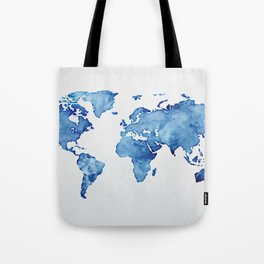 Blue World Map 03 Tote Bag