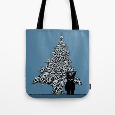 The Black Bunny of Doom and his Skull Christmas tree Tote Bag