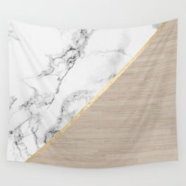 Modern white marble gold stripe wood color block Wall Tapestry