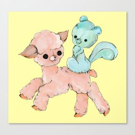 sew kewt pastel goth creepy stitched creatures Canvas Print