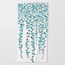 String Of Pearls plants watercolor 2 Beach Towel