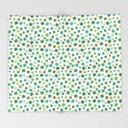 Lucky Watercolor Clovers Throw Blanket