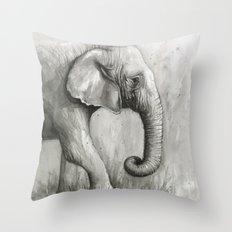 Elephant Black and White Watercolor Animals Throw Pillow