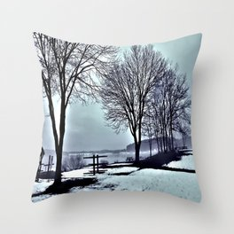 Winter Trees by the Lake Throw Pillow