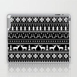 Deer christmas fair isle camping pattern snowflakes minimal winter seasonal holiday gifts Laptop & iPad Skin