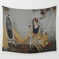 snow white Wall Tapestries featuring Snow White by Rose's Creation