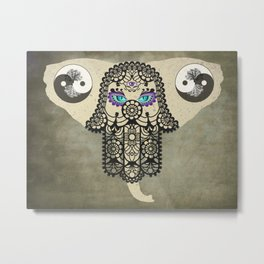 Elephant Hamsa Tree Ying Yang A403 Metal Print