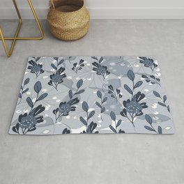 Tonal Leaves and Flowers in Midnight Blue Rug