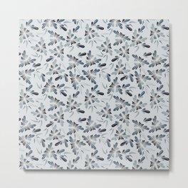 Grey Blue Floral Metal Print