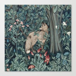 William Morris Forest Fox Tapestry Canvas Print