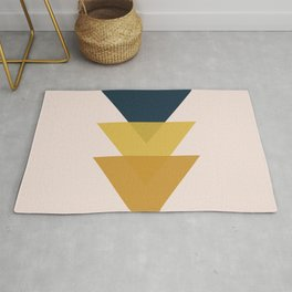 Triangle Trio Minimalist Geometric in Mustard Yellow and Navy Blue and Blush Pink Rug