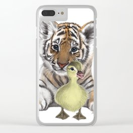 Tiger Cub and Duckling Clear iPhone Case