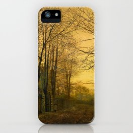 John Atkinson Grimshaw - October Afterglow  - Victorian Retro Vintage Painting iPhone Case