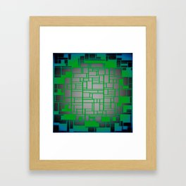 Teal Green Art Deco Pattern Framed Art Print