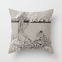 Egyptian Goddess Past Life Throw Pillow