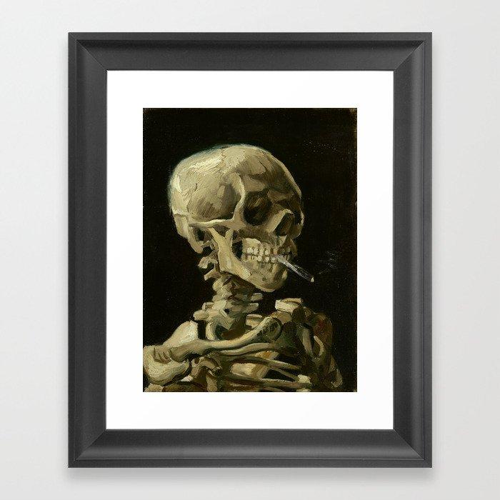Vincent van Gogh - Skull of a Skeleton with Burning Cigarette Gerahmter Kunstdruck