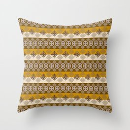 Ethnic african striped pattern with Adinkra simbols. Throw Pillow