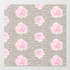 Watercolor roses on Taupe with French script Canvas Print