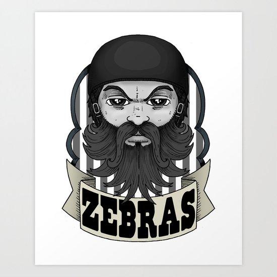 Roller Derby Zebra Referee Ref Logo by Ronkytonk Art Print