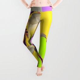 Fantasy Calla Lily Garden Gold-Lilac-Lime Color Designs Leggings