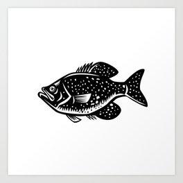Crappie Fish Woodcut Art Print